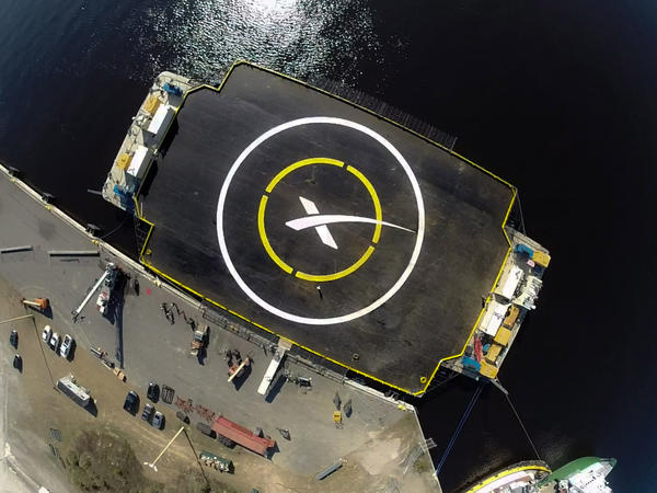X marks the spot where SpaceX hopes the first stage of its Falcon 9 rocket will land. The landing barge is robotic and will be unmanned in case something goes wrong.