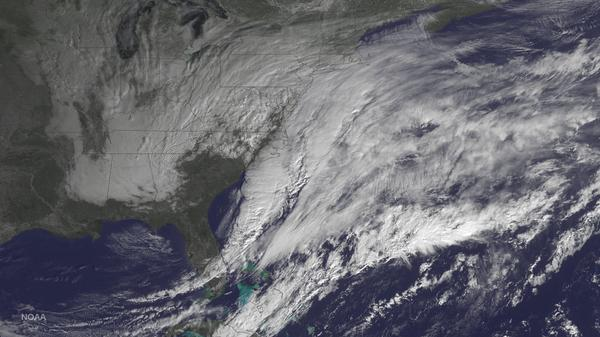 The National Oceanic and Atmospheric Administration posted this photo taken Monday of the storm bearing down on the U.S. Northeast.