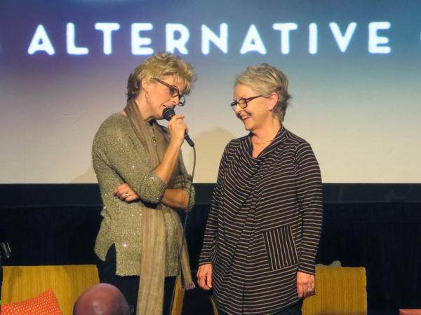 Maria Bamford and her mother, Marilyn, onstage during <em>The Marilyn Bamford Collective</em> at the RIOT Festival in Los Angeles.