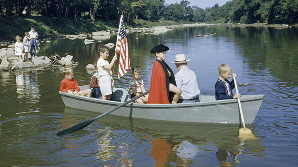 American boys re-enact George Washington's crossing of the Delaware River in 1776.