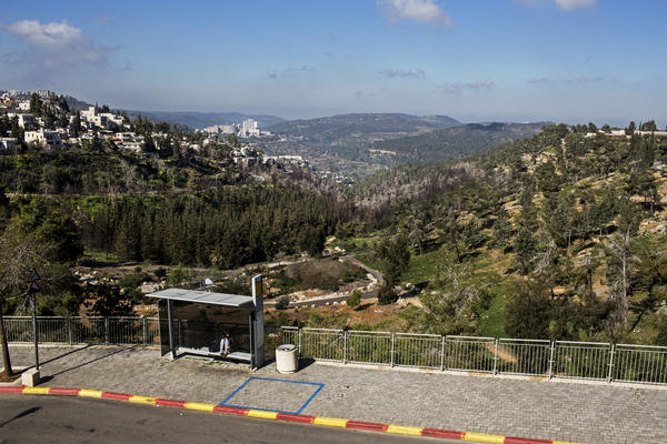 The view from the Mount Herzl light rail station in the western part of Jerusalem, near Yad Vashem, the Holocaust museum.