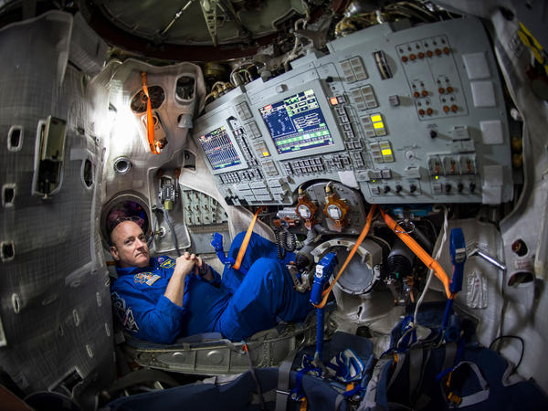 NASA astronaut Scott Kelly is seen inside a Soyuz simulator at the Gagarin Cosmonaut Training Center on March 4 in Star City, Russia. Kelly, along with Russian cosmonaut Mikhail Kornienko of the Russian Federal Space Agency, are scheduled for launch Friday aboard a Soyuz TMA-16M spacecraft from the Baikonur Cosmodrome in Kazakhstan.