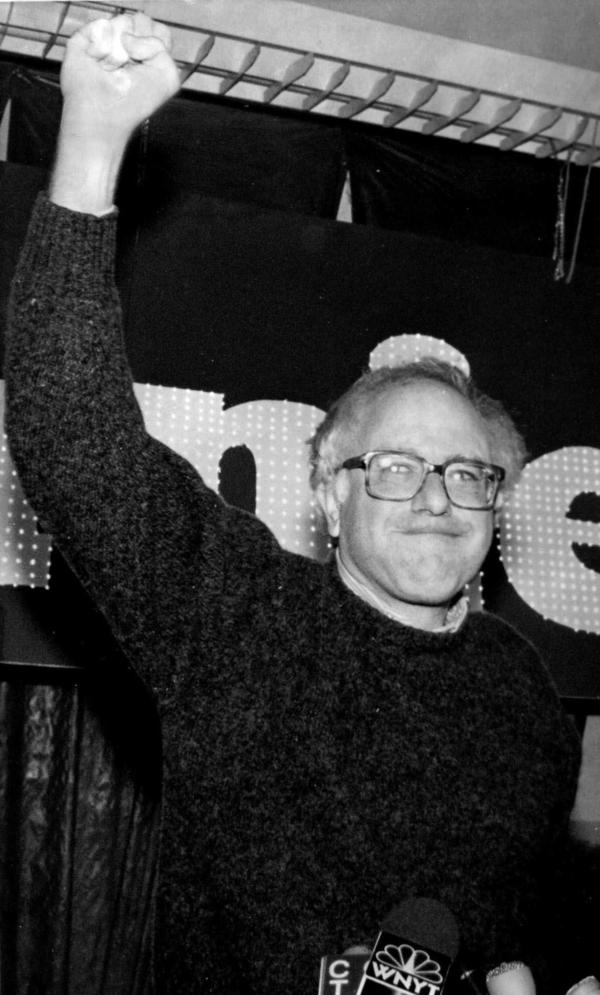 Bernie Sanders celebrates his victory in the race for U.S. Congress in Burlington, Vt., in 1990.
