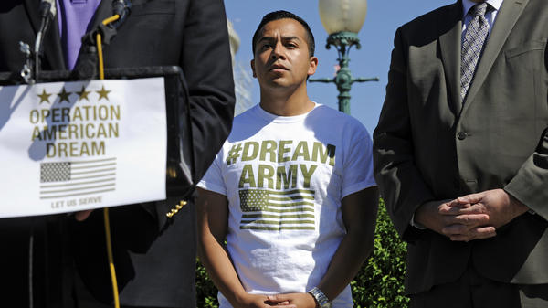 Dream Action Coalition Co-director Cesar Vargas, at a news conference on Capitol Hill in 2014. He wants immigrants who were brought to the U.S. illegally as children to later be allowed to serve in the military.