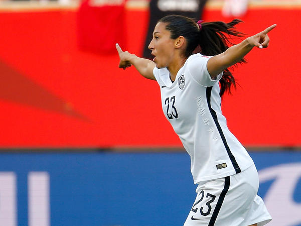 Christen Press of the United States celebrates Monday after scoring a second-half goal against Australia during the FIFA Women's World Cup in Winnipeg, Canada.