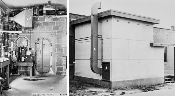 (Left) The inside of a gas chamber used for tests on American troops during World War II at the Edgewood Arsenal in Maryland. (Right) The exterior of a Naval Research Laboratory gas chamber in Washington, D.C.