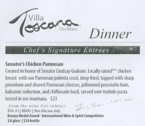 "Villa Toscana's menu featuring ""Senator's Chicken Parmesean"""