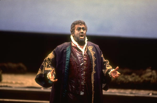 Tenor Placido Domingo performs the title role in a 1994 performance of Verdi's <em>Otello</em> at the Metropolitan Opera in New York.