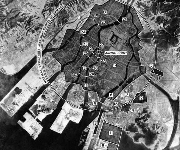 This photo diagram shows the extent of the damage at Hiroshima. Shaded regions indicate the city's most devastated sectors.