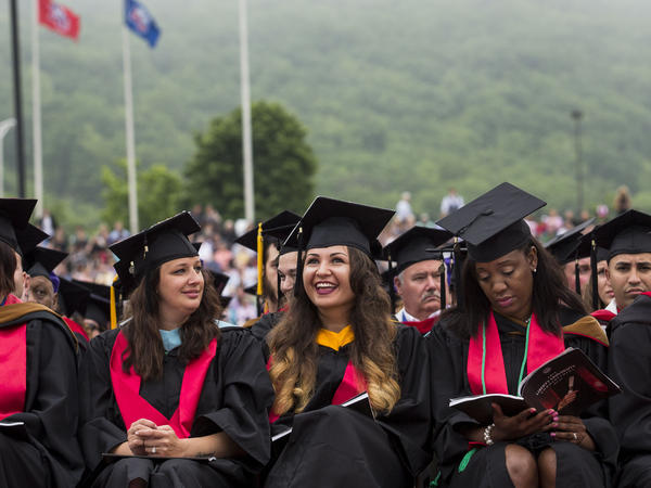 Graduates wait for the start of the commencement ceremony at Williams Stadium on the campus of Liberty University on May 9 in Lynchburg, Va.