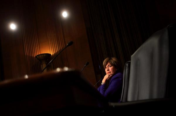 "Gov. Kathleen Blanco listens to opening statements before testifying before the Senate Finance Committee on Sept. 28, 2005, in Washington. Blanco asked Congress for help in rebuilding her devastated state, saying Hurricanes Katrina and Rita ""knocked us down but they did not knock us out."""
