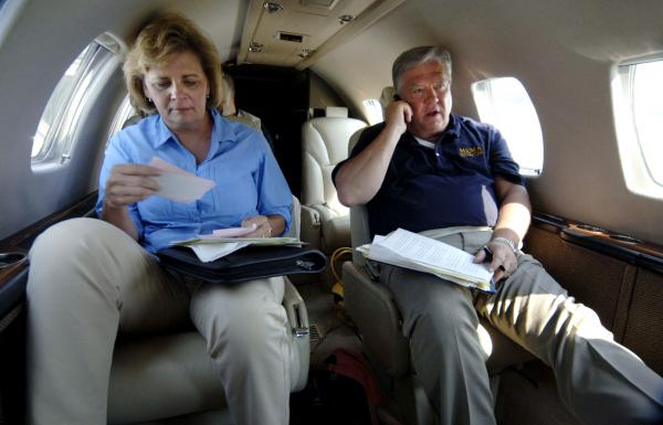 Mississippi Gov. Haley Barbour and his wife, Marsha Barbour, prepare to meet with President Bush in Gulfport on Sept. 12, 2005. Katrina made landfall on the Mississippi coast, site of some of the worst damage from the storm.