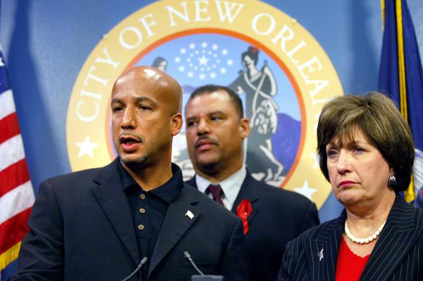 New Orleans Mayor Ray Nagin (left), accompanied by Councilman Oliver Thomas and Louisiana Gov. Kathleen Blanco, speak at a news conference at New Orleans City Hall on Aug. 27, 2005. A mandatory evacuation was ordered the next day, as Hurricane Katrina appeared headed for a direct hit on the city Monday, Aug. 29.
