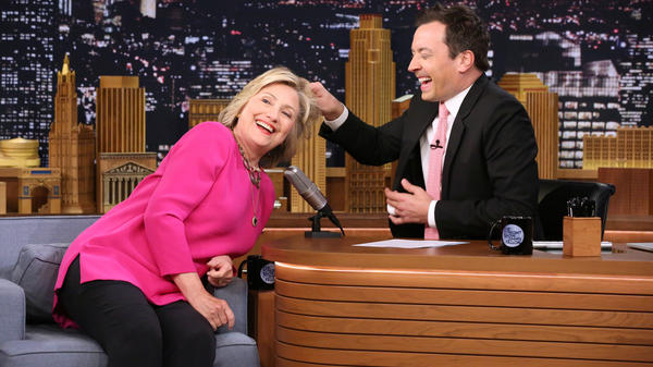 "Asking <em>Tonight Show</em> host Jimmy Fallon if he had ever touched Donald Trump's ""real hair,"" (he had not) Clinton offered ""you want to touch mine?"""