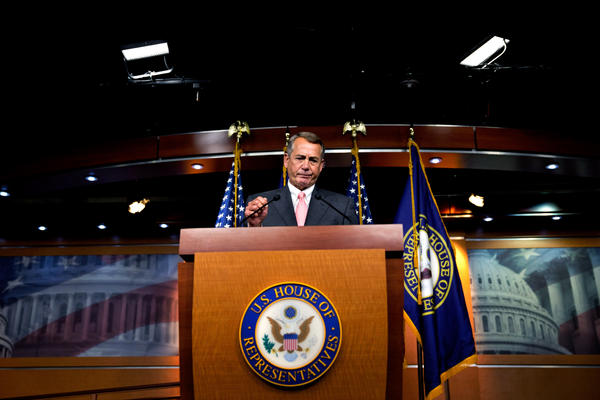 House Speaker John Boehner of Ohio pauses during a news conference on Capitol Hill on Friday. Boehner informed fellow Republicans that he would resign from Congress at the end of October, stepping aside in the face of hardline conservative opposition that threatened an institutional crisis.