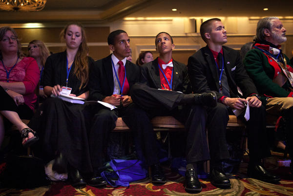 Attendees listen to speeches at the Values Voter Summit in Washington, D.C. on Friday.