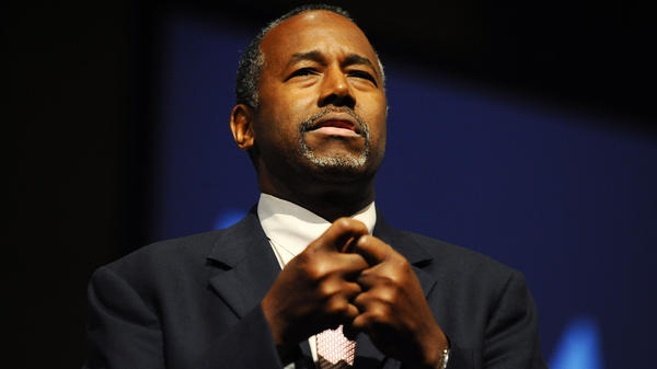 Republican Presidential candidate Dr. Ben Carson speaks during a town hall event on Friday at Bob Jones University in Greenville, S.C.