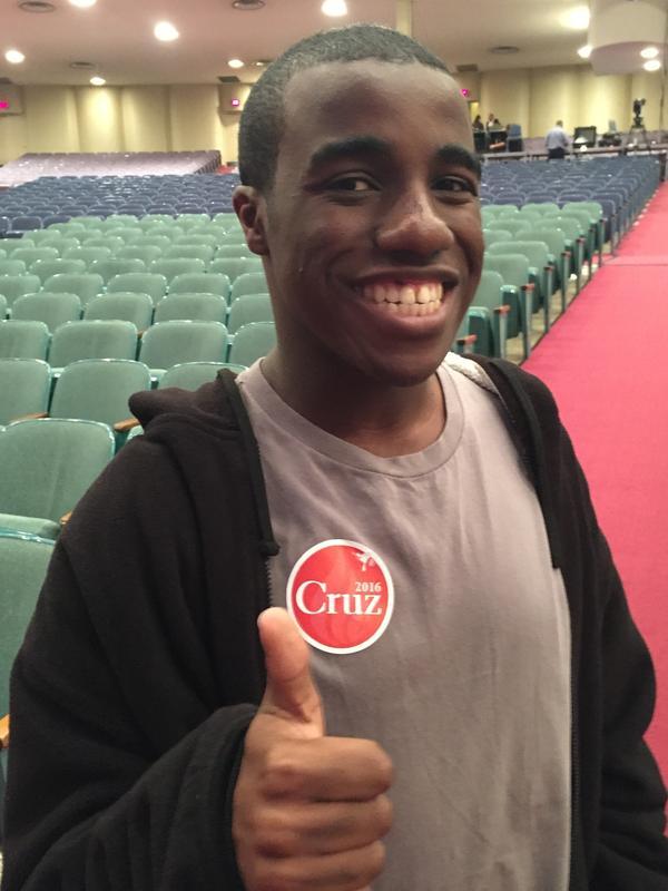 Gomer Joseph, a freshman business major at Bob Jones University, attended a rally for Texas Sen. Ted Cruz on Saturday.