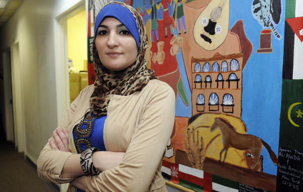 """""""That this is only directed at the Muslim community is something that I personally can't accept,"""" activist Linda Sarsour said of President Obama's challenge to American Muslims. She's pictured here in 2011 at the Arab American Association of New York."""