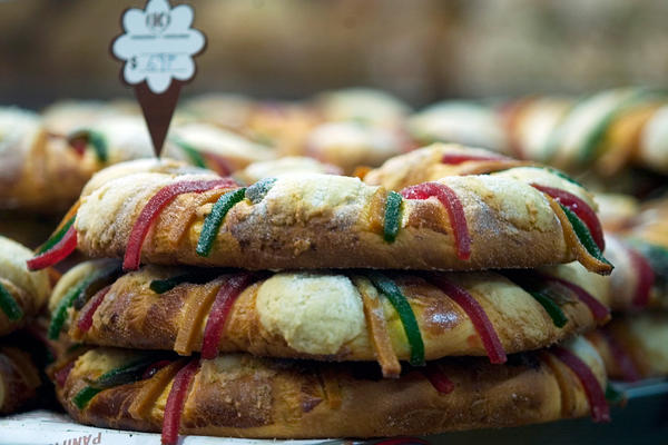 In Mexico, <em>roscas de reyes</em> are made with different kinds of candied fruits. A baby Jesus figurine is hidden inside.