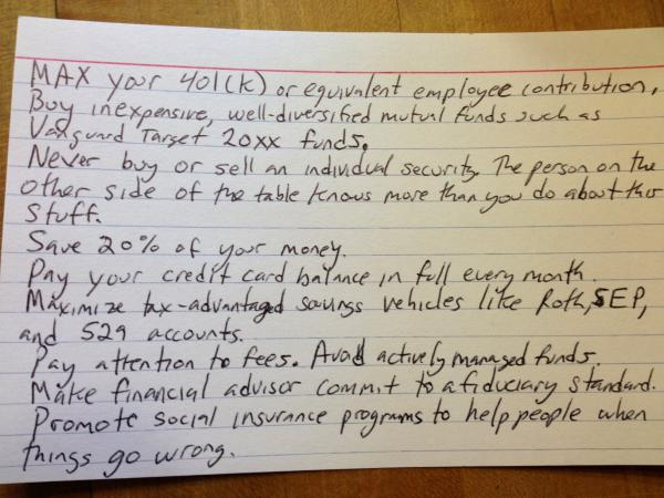 Harold Pollack's index card of finance tips.