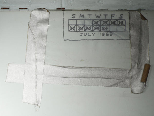 The crew of the first mission to land on the moon drew this calendar on the wall. It ends on the day they returned to Earth.