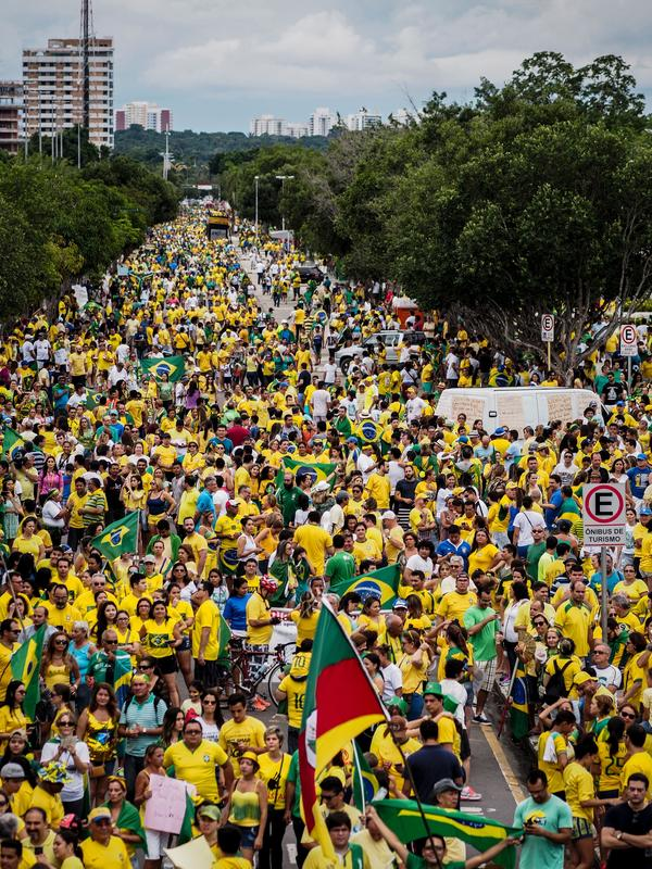Demonstrators poured into the streets of cities across Brazil over the weekend, including Manaus, in northern Brazil.