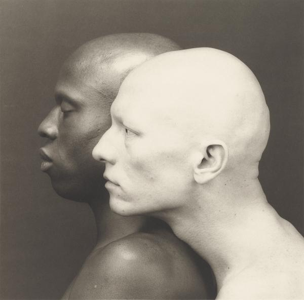 Former studio assistant Brian English says that even when Mapplethorpe was photographing other people, he was making self-portraits as well. Above, Mapplethorpe's 1984 photograph of Ken Moody and Robert Sherman.
