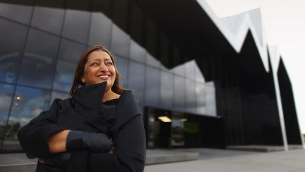 Zaha Hadid stands before the Riverside Museum, her first major public commission in the U.K., in Glasgow, Scotland, in 2011.