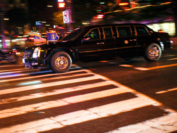 One car in President Obama's motorcade leaving the Washington Hilton after the White House Correspondents' Association Dinner on Saturday in Washington, D.C.