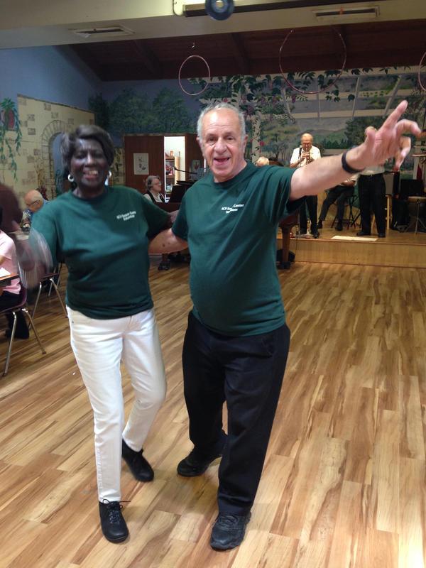 Tommie Ward and Rudy Pavini dance at the Santa Clarita Valley Senior Center near Los Angeles.