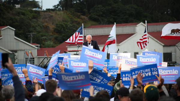 Democratic presidential candidate Bernie Sanders speaks to supporters at his final rally ahead of the California primary at Crissy Field in San Francisco on Monday.