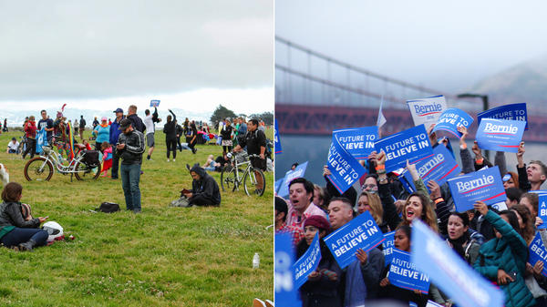 (Left) Sanders supporters and concertgoers listening to Dave Matthews and (right) standing behind the podium at Bernie Sanders' rally Monday in San Francisco.