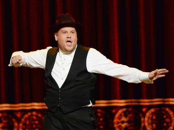 """Host James Corden performs a """"gleeful mashup of Broadway hits"""" during the opening number of the 70th Annual Tony Awards."""