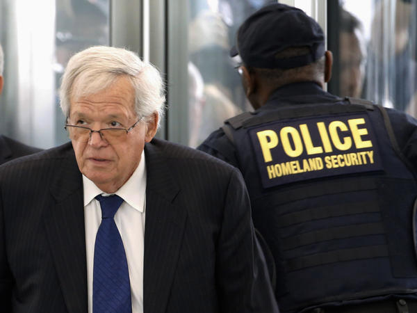 Former House Speaker Dennis Hastert arrives at the federal courthouse in Chicago last year for his arraignment.