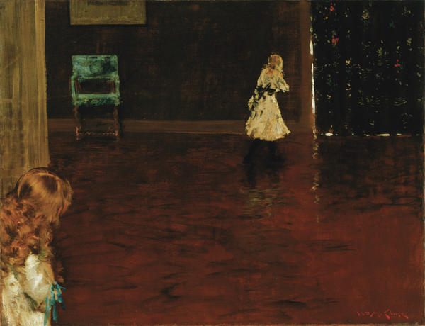In Chase's 1888 <em>Hide and Seek</em>, two young girls — sisters, perhaps — play on a vast shimmering hardwood floor, in a sparely-decorated room. A mysterious painting. Who is hiding? Who is seeking? Is it just a game? Or is the painting about growing up — the older girl approaching the door to adulthood, the younger one looking at her own future?