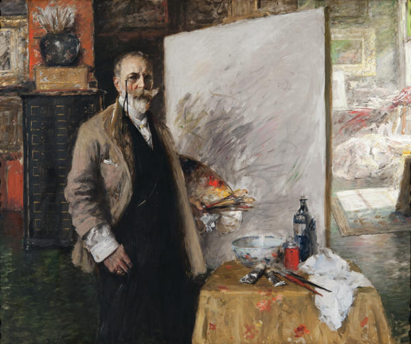 """Chase was known for his impeccable dress, which fascinated students. One said, """"he can do an oil painting wearing a white flannel suit and get not a drip on himself."""" Chase painted this self portrait in his 4th Avenue studio."""
