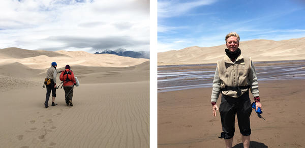 """(Left) Kurt Fristrup and Bill McQuay record the sounds of the Great Sand Dunes. (Right) Fristrup says wild sounds trigger """"the small moments that can really connect you with the park."""""""