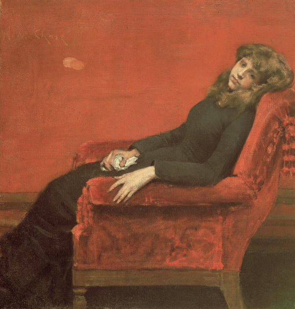 Chase exhibited this painting in 1884 under two different titles — <em>The Young Orphan </em>and later,<em> At Her Ease</em>.