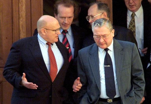 Vyacheslav Trubnikov (right) was head of the Foreign Intelligence Service, Russia's equivalent of the CIA, from 1996 to 2000. He's shown here speaking with U.S. Deputy Secretary of State Richard Armitage in 2001 in Moscow. Trubnikov was Russia's deputy foreign minister at the time.