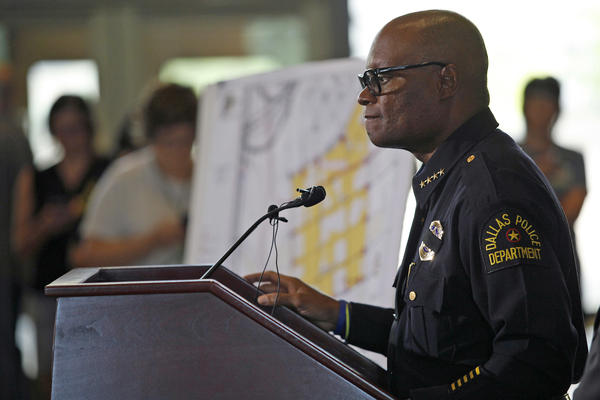Dallas Police Chief David Brown speaks at a city hall press conference on the fatal shootings of five police officers on Friday.
