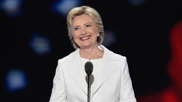 Democratic presidential nominee Hillary Clinton takes the stage on the final night of the Democratic National Convention.