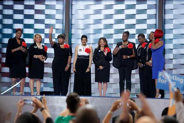 Mothers of the Movement (from left) Maria Hamilton, Annette Nance-Holt, Gwen Carr, Geneva Reed-Veal, Lucia McBath, Sybrina Fulton, Cleopatra Pendleton-Cowley, Wanda Johnson and Lezley McSpadden.