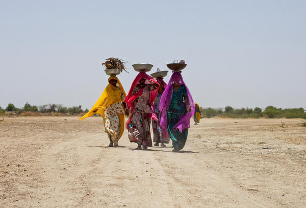 Women carry firewood and other supplies into the village.