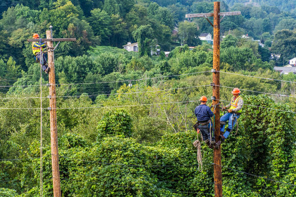 Former coal miners are trained as linesmen in a program co-sponsored by the Hazard Community and Technical College and the Eastern Kentucky Concentrated Employment Program in Hazard, Ky.