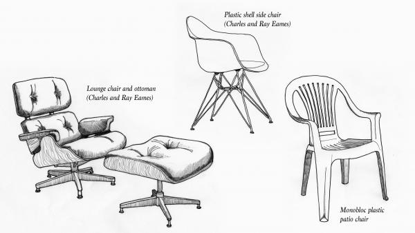 """American designers Charles and Ray Eames, a husband and wife team, were best known for their luxurious Eames Lounge Chair (left). Rybczynski says the ubiquitous plastic patio chair (right) is a direct """"descendant"""" of Eames designs."""