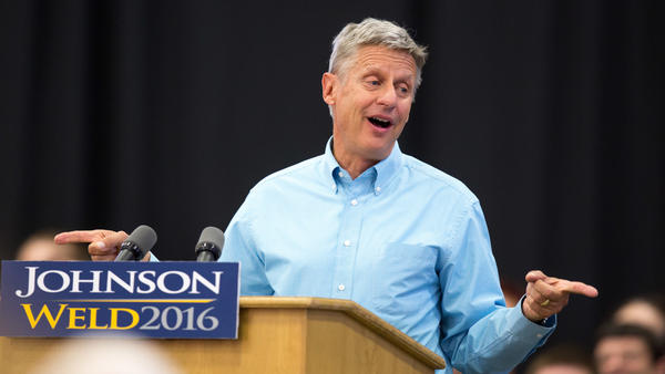 Libertarian presidential candidate Gary Johnson speaks during a campaign rally Sept. 3, 2016, in Des Moines, Iowa.