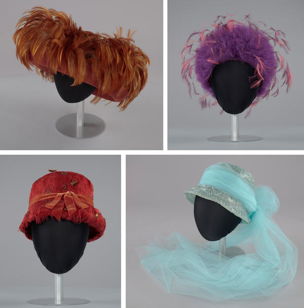 (Clockwise from top left) Ochre-colored rolled brim suede hat with feathers; purple tulle cap with pink and purple feathers; blue and white hat with blue tulle streamer; red feather lamp shade hat.