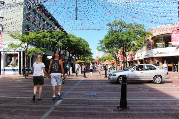 This is Church Street, a pedestrian-only thoroughfare in downtown Burlington.