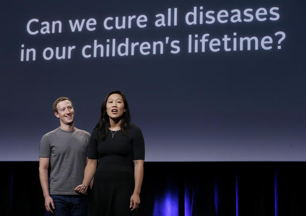 Facebook CEO Mark Zuckerberg and his wife, Priscilla Chan, rehearse for a speech in San Francisco.